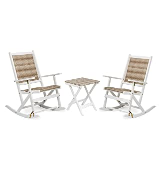 Claytor Folding Eucalyptus Outdoor Furniture, Two Rockers And Side Table,  White