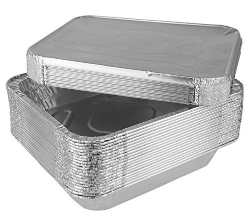 SmorgasWare - Disposable Half Size Deep Aluminum Steam Table Pans With Lids (Aluminum, 20 Pans And 20 Lids = 40 Value Pack) (Steam Table Pan Lids compare prices)