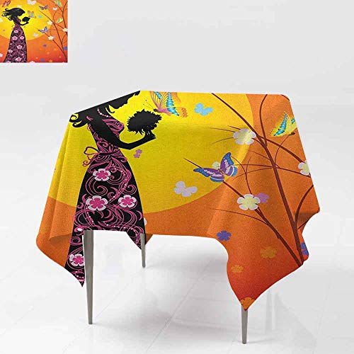 Indoor/Outdoor Square Tablecloth,Teen Girls,Flowers Butterflies and Silhouette of Girl in Floral Dress Bouquet Fantasy Art,High-end Durable Creative Home,50x50 Inch Orange -