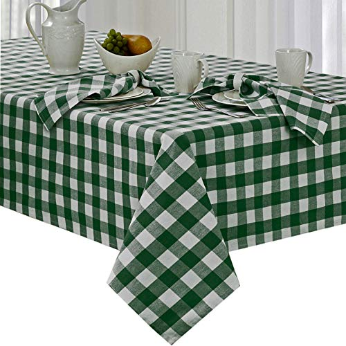 (Newbridge Buffalo Check Indoor/Outdoor Cotton Tablecloth - Cottage Style Gingham Check Pattern Tablecloth - 52 x 52 Square, Hunter Green)