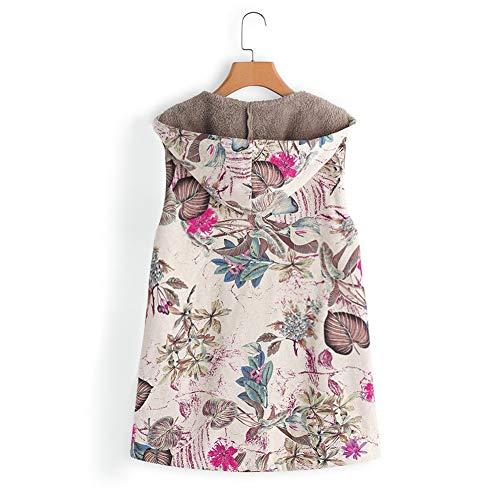 Mangas m B Chaqueta Chalecos Floral Ropa Mujer Top Abrigo Caliente De Abrigos Caliente Sin Invierno Oofay Chaleco Estampado Felpa b Outwear ZBqSxwHx