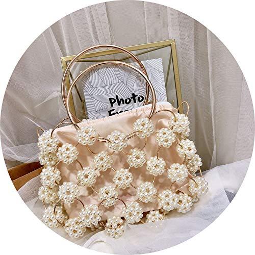 Flower Pearl Handbag Fashion Clutch Evening Bag Beaded Pearl Top Handle Bag Tote Basket Cage Shaped Bag,Pearl Handbag
