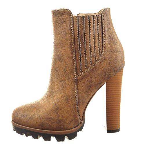Sopily Damen Mode Schuhe Stiefeletten Chelsea Boots Plateauschuhe Fertig Steppnähte - Camel