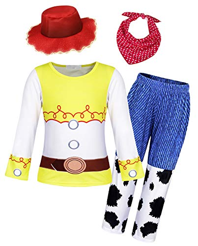 HenzWorld Jessie Halloween Night Costumes Cosplay Party Dress Up Birthday Party Home Outfits Clothes Set Bandana Cap 5-6 Years (Toy Story Jessie Pajamas)