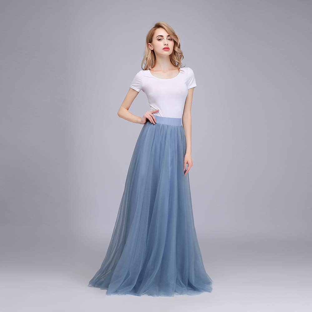 9285ddaa5b160 Honey Qiao Women's Maxi High Waist Skirts Blush Tulle Holiday Formal Skirt  at Amazon Women's Clothing store: