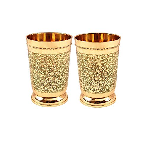 Set Of 6 Embossed Designer Brass Mint Julep Cup Goblet Tumbler Capacity 12 Ounce Each by PARIJAT HANDICRAFT (Image #2)