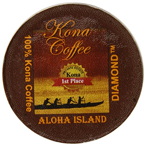 Aloha Island Coffee Company Private Reserve Diamond Pure Kona Keurig K-Cups Coffee, 12 Count