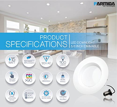 Parmida (4 Pack) 5/6 inch Dimmable LED Downlight, 15W (120W Replacement),EASY INSTALLATION, Retrofit LED Recessed Lighting Fixture, 3000K (Soft White), 1100Lm, ENERGY STAR & ETL, LED Ceiling Can Light by Parmida LED Technologies (Image #2)