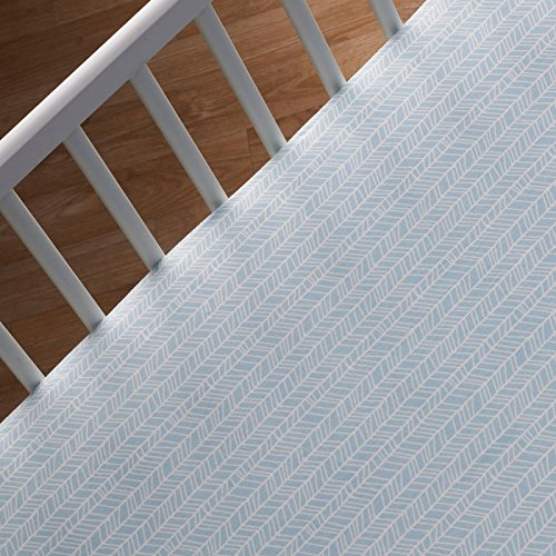 Lolli Living 100% Cotton Crib Fitted Sheet (Woods Collection). Aqua Herringbone Pattern Ultra-Soft Fitted Sheet for Standard Cribs (Aqua Crib Sheet)