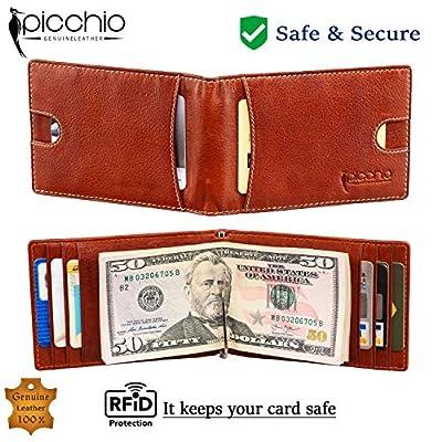 Picchio RFID Blocking Bi-Fold Vintage Slim Men's Money Clip Front Pocket Wallet with 8 Credit Card Slots