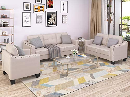 Merax 3 Piece Sectional Sofa, Living Room Furniture Set Sofa Set Include Armchair Loveseat Couch Tufted Cushions