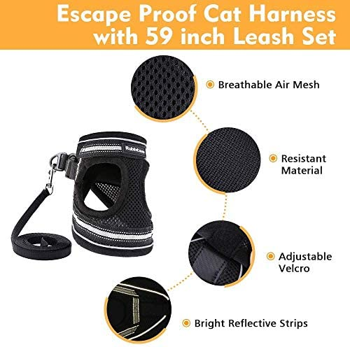 rabbitgoo Cat Harness and Leash Set for Walking Escape Proof, Adjustable Soft Kittens Vest with Reflective Strip for Cats, Step-in Comfortable Outdoor Vest 25