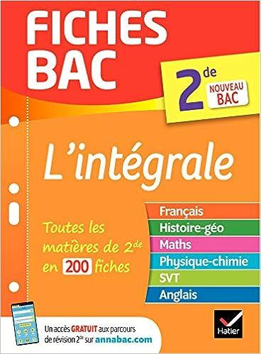 Fiches Bac L Integrale 2de Nouveau Programme De Seconde