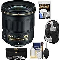 Nikon 24mm f/1.8G AF-S ED Nikkor Lens with 3 Filters + Backpack + Kit for D3200, D3300, D5300, D5500, D7100, D7200, D610, D750, D810, D4s DSLR Camera