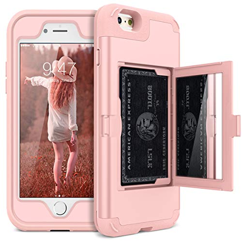 WeLoveCase iPhone 6/6s Wallet Case Defender Wallet Design with Hidden Back Mirror and Card Holder Heavy Duty Protection Shockproof 3 in 1 All-Round Armor Protective Case for iPhone 6 6S - Rose Gold