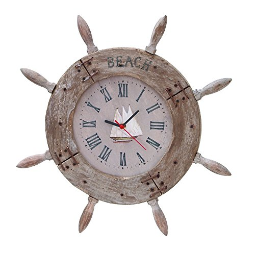 Deco 79 Wood Ship Wheel Clock Nautical Maritime Decor,