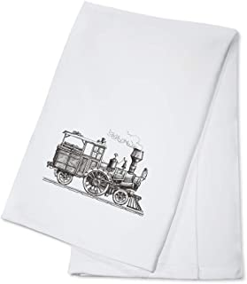 product image for Vintage Sketch Illustration of a Retro Steam Train on a White Background 9010858 (100% Cotton Kitchen Towel)