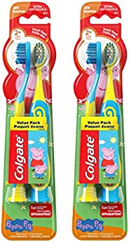 Colgate Kids Extra Soft Toothbrush with Suction Cup, Peppa Pig, New Value Pack, 4 Count