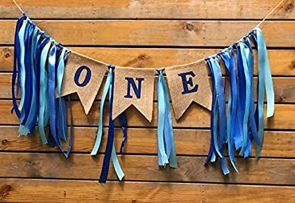 Sllyfo 1st Birthday DecorationsBaby Boys First BannerBurlap Highchair Banner For