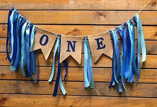 (Sllyfo 1st Birthday Decorations,Baby Boy's First Birthday Banner,Burlap Highchair Banner for 1st Birthday boy)