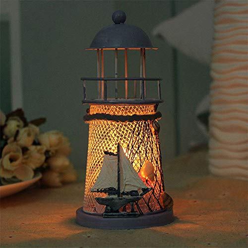 ❤Ywoow❤ Silicone cage, 14cm Lighthouse Iron Candle Holder Nautical Beach Anchor Decoration -
