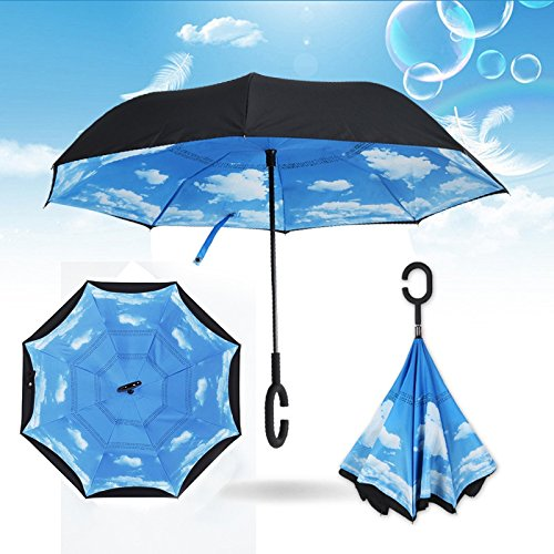 Healthy Care Reverse/Inverted Double-Layer Windproof UV Protection Straight Umbrella, Self-Standing & C-Shape Handle & Carrying Bag for Free Hands (Blue sky and white clouds)