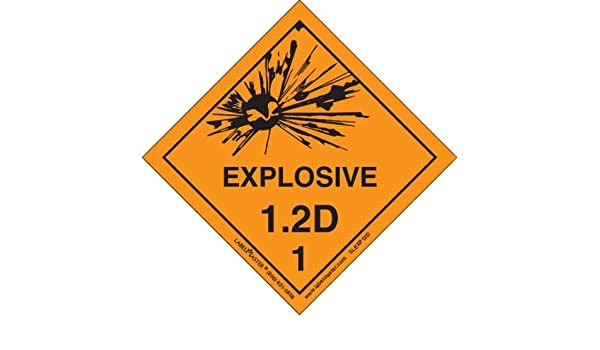 4 x 4 Vinyl Labelmaster SLEXP12D Explosive 1.2 D Label Pack of 500 Hazmat 4 x 4 Pack of 500