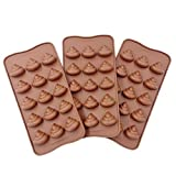 MANSHU 3pc Cute Funny Poop Shape Chocolate Molds, Silicone Baking Molds for Soap, Candy, Fondant, Cake Decorations.