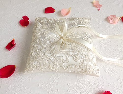Ivory Embroidered Wedding Ring Pillow. Ivory Satin Ring Bearer. Floral Lace Cushion For Wedding Rings. Wedding (Embroidered Ring Bearer Pillow)