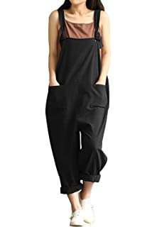 TrendyCosmo Womens Loose Jumpsuits Casual Wide Leg Overalls Plus Size Rompers with Pockets S-XL