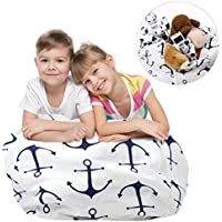 Stuffed Animal Storage Bean Bag Chair, Zooawa Kids Bedroom Organizer for Plush Cuddly Jumbo Animal Toys - 32, Blue + White Anchor