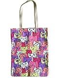 YeeTan Canvas Tote Bag Shoulder Bag Beach Bag Cute Cats Pattern, Women Girls, Perfect for Shopping, School, Outdoor, Picnic (COLOR: COLORFUL)