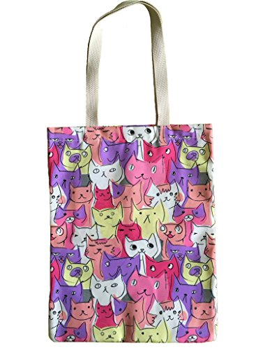 YeeTan Canvas Tote Bag Shoulder Bag Beach Bag Cute Cats Patt