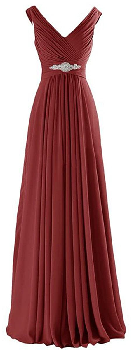 FirstL Womens V Neck A-line Chiffon Long Floor Length Evening Dress Gown E02