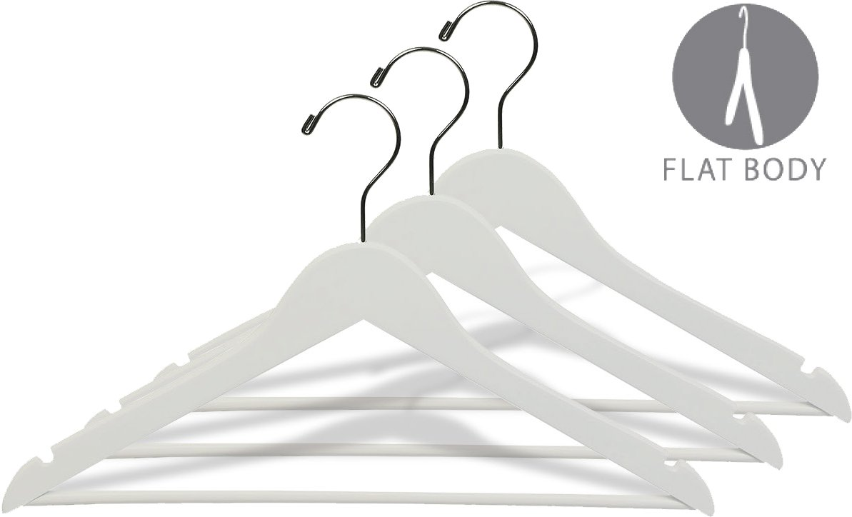 Box of 50 The Great American Hanger Wooden Suit Hangers White//Chrome Finish