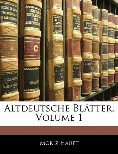Read Online Altdeutsche Bl Tter. Erster Band (German Edition) pdf