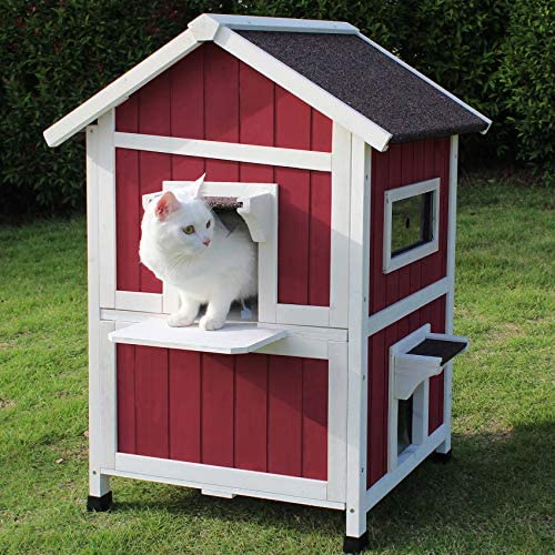 Amazon Com Rockever Feral Cat Shelter Outdoor With Escape Door Rainproof Outside Cat House Two Story For Three Four Cats Color Wine Red Pet Supplies