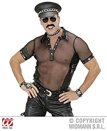 716587bf0aa4 L Mens 70s YMCA BLACK NET & LEATHERLOOK T SHIRTS MAN SIZE Costume for 70s  Disco Hippie Fancy Dress Outfit Large 42-44