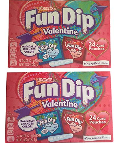 (Wonka Fun Dip Valentine's Day Classroom Exchange Card & Candy Kit (2 Pack - 48 Card)