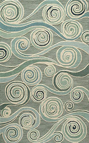 Momeni Rugs DUNESDUN-8LBL2030 Dunes Collection, Hand Tufted 100% Wool Transitional Area Rug, 2' x 3', Light Blue