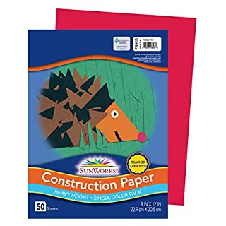 "SunWorks Construction Paper, Holiday Red, 9"" x 12"", 50 Sheets"