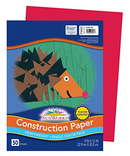 """SunWorks Construction Paper, Holiday Red, 9"""" x 12"""", 50 Sheets"""