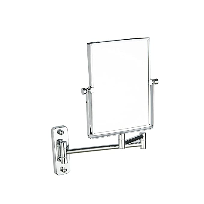 Bathroom Makeup Mirror, Square Makeup Mirror Wall Mounted Extendable Bathroom Mirror Two-Sided Swivel Beauty Mirror Bathroom Hotel-Silvery