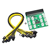 Ethereum ETH ZEC Mining Power Supply 12V GPU/PSU Breakout Board + 12pcs 16AWG PCI-E 6Pin to 6+2Pin Cables 20Inch Length Compatible with GPU Mining Power Supply -HP 1200W/750W PSU.
