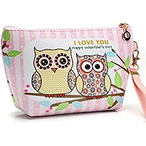 Makeup Bag ,kaifongfu Portable Owl Cosmetic Case Pouch Zip Toiletry Organizer Travel Bag