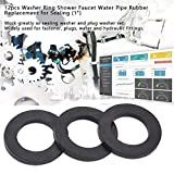 12pcs Flat Rubber Washers Rubber O-Ring Seals Water Pipe Connector Replacement for Faucets and Shower Head