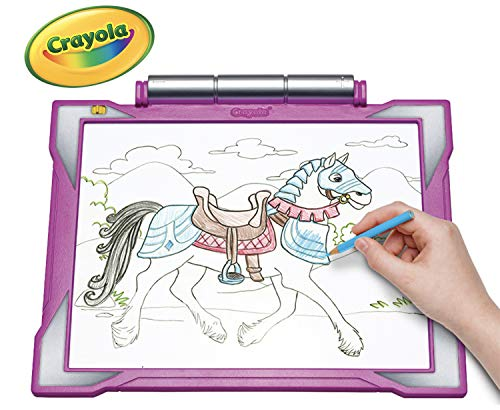 Crayola Light-up Tracing Pad - Pink, Coloring Board for Kids, Tracing Pencil and Sheets, 12 Colored Pencils, Easy Coloring Pages (Things 10 Year Olds Want For Christmas)