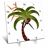 3dRose dc_60779_1 Palm Tree and The Sun-Desk Clock, 6 by 6-Inch
