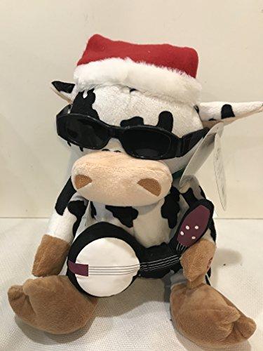 Animated Stuffed Cow Santa's Strummer Plays Jingle - Animated Sunglasses