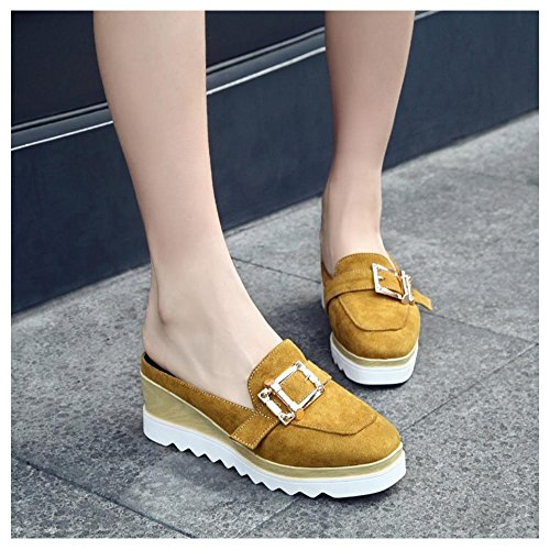 TAOFFEN Women Fashion Open Back Mules Sandals Yellow h6Ha596eL6